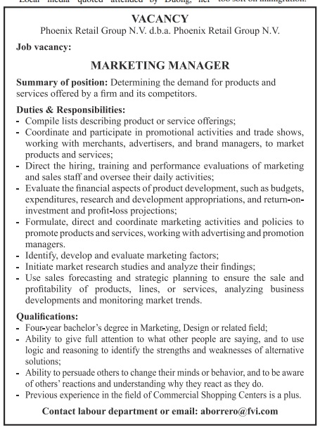 Marketing Manager vacancy